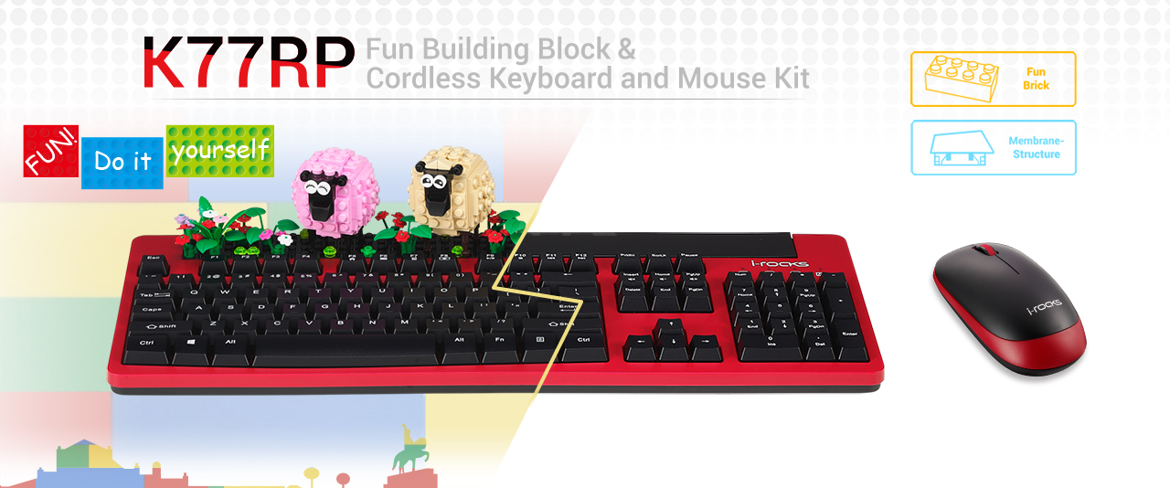 K77RP cordless keyboard and mouse kit